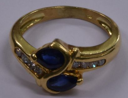 Bague en or jaune diamants et saphirs, 4,8...