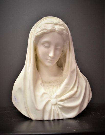 Buste de madonne en marbre de carrare XIX...