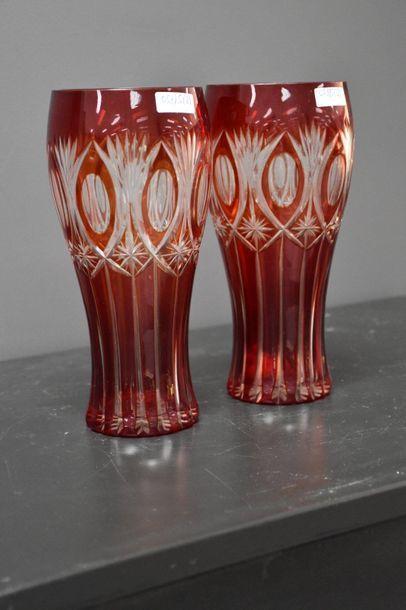 Pair of cut crystal vases from Val Saint Lambert, ht 23 cm.