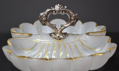 Louis Philippe period beggar in opaline and silver handle.