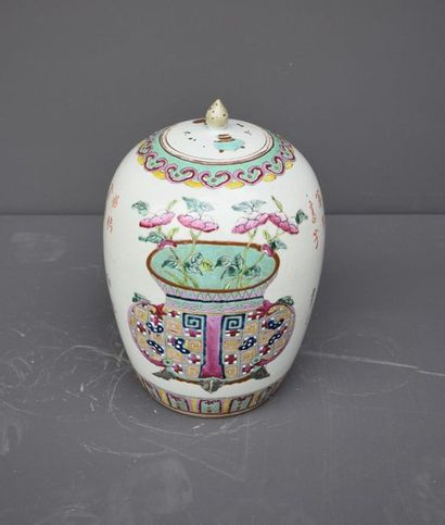 Ginger pot in porcelain of China, 19th century, decorated with a flowerpot. Ht 35...