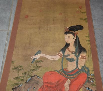 """Chinese painting on paper signed, subject """"elegant"""". 120 x 60 cm."""