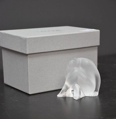 LALIQUE France, naked woman in frosted white crystal with her original box. Ht 6...