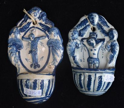 Delft 18th. Lot of 2 stoup . Ht 17 and 14 cm .