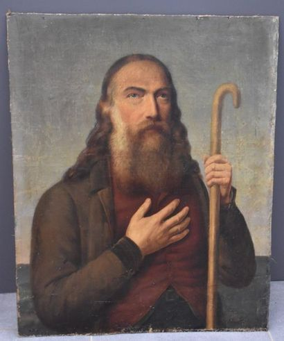 Painting representing a bearded man with a cane, 19th century, signed F. Erendt...