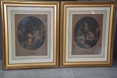 Paire de gravures romantiques 19ème siècle...