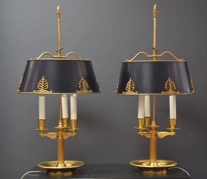 Paire de lampes bouillottes de style empire...