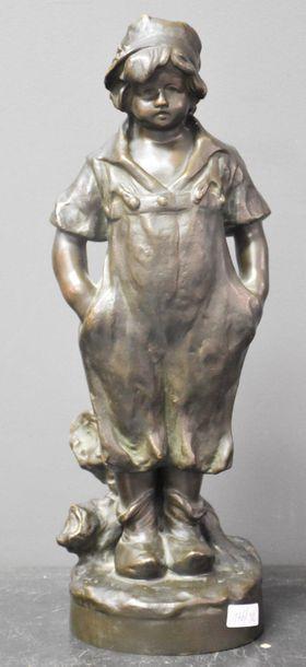 Bronze romantique vers 1900 : fillette en...