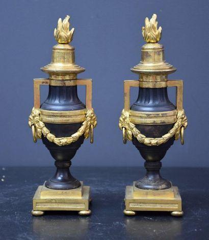 Paire de pots à feu en bronze doré et patin....