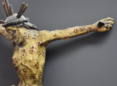 Rare Christ with a pestiféré body covered with nuts. Germany early 18th century...