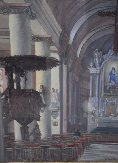"Albert Ducat. ""Church Interior."" Oil on canvas signed lower right. 51 x 61 cm ."