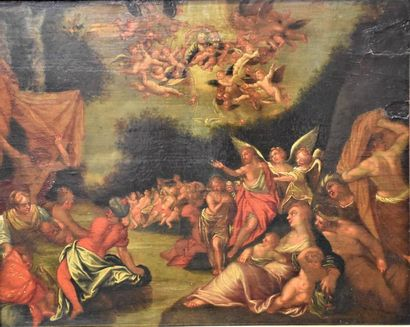 """Oil on oak panel XVII th century . """"The Baptism of Christ"""", animated with many characters..."""