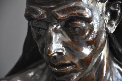 Constantin Meunier ( 1831 - 1905 ) . Imposant buste d'ouvrier en plâtre . Modèle...