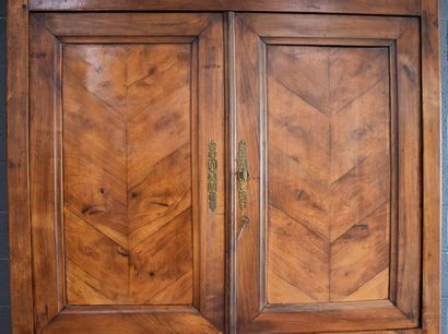 Louis Philippe period solid cherry wood double sideboard, fern leaf pattern.