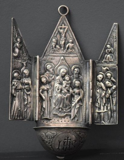 Solid silver triptych stoup with nativity scene decoration. Ht 15 cm, length 10...