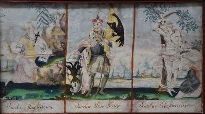 18th century gouache with Saint Sebastian and Mary Magdalene decoration. 36 x 20...