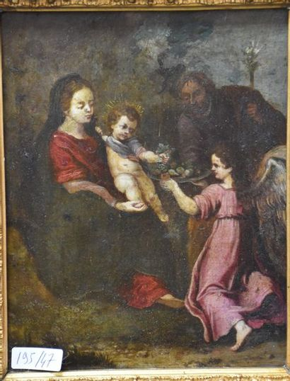 Oil on copper end XVII th beginning XVIII th century ; holy family and the angel...