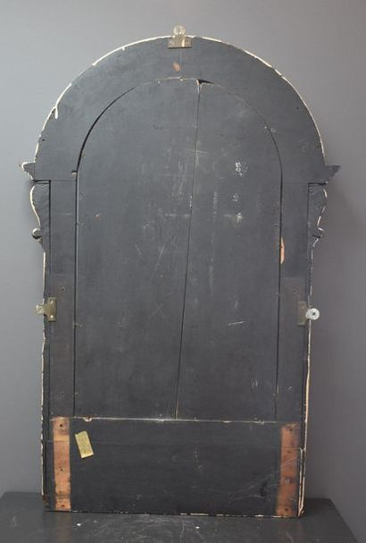 19th century mirror in blackened wood with ivory inlays of masks and foliage. Ht...