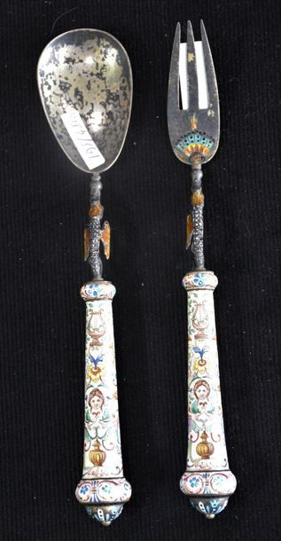 Pair of cutlery (fork and spoon) decorated with sea dragons in painted enamel and...