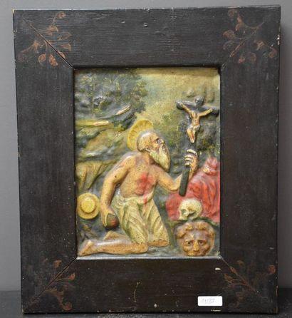 Panneau en bois sculpté et polychromé représentant...