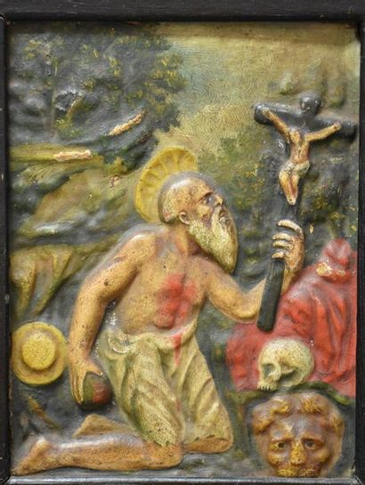 Carved and polychromed wood panel representing Saint Jerome . Spain XVIIth century...