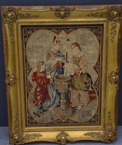 Tapestry XIX th century with medieval decoration and its frame. 44 x 60 cm .