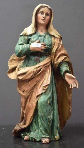 Virgin made of carved polychrome wood, glass eyes. Work from the south of Italy...