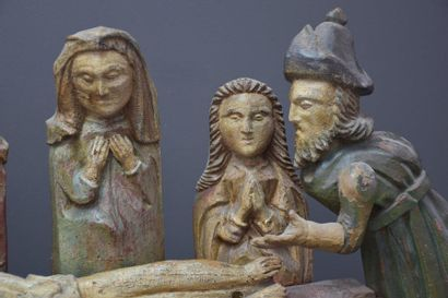 Gothic group in polychrome wood composed of 6 subjects representing the tomb of...