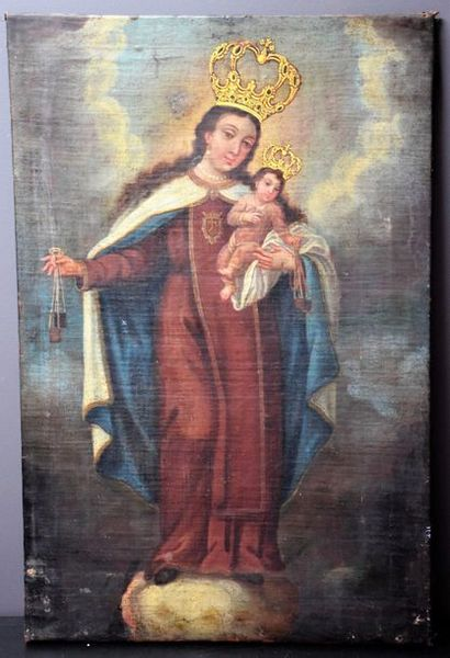 """Oil on canvas XVIII th century . """"Mother with child."""" 62 x 40 cm."""