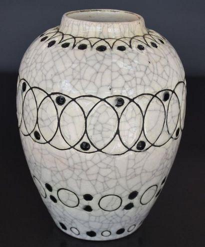 Vase boch keramis signé Jacques Adnet à décor...