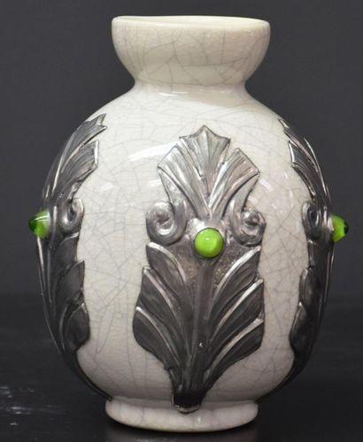 Vase boch keramis monochrome blanc craquelé...