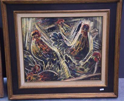 Rosier . Huile sur toile, signée Geraardsbergen...