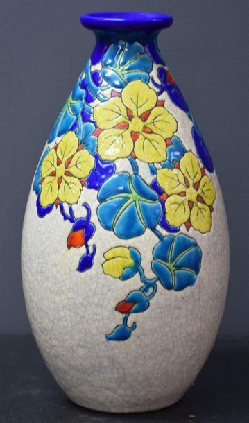 Vase Boch keramis à décor de fleurs . Ht...