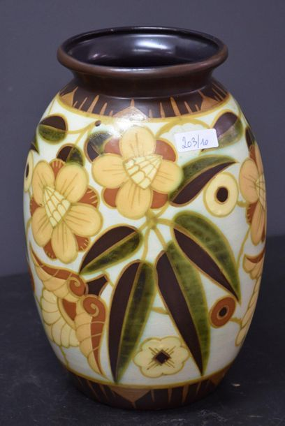 Vase Boch keramis décor feuilles de marronnier...