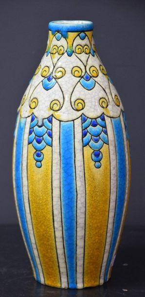 Vase Boch Keramis décor stylisé en émaux...