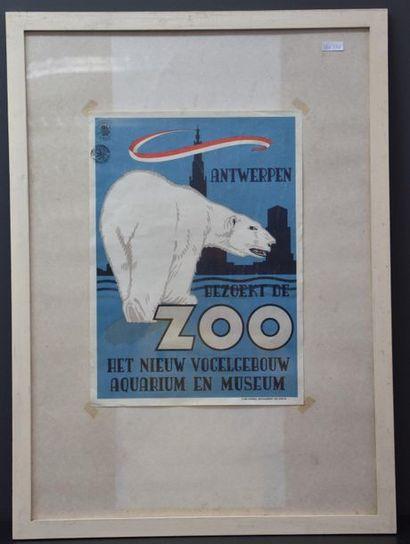 Affiche ancienne zoo d'Anvers . 42 x 30 cm...