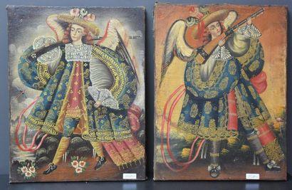 Paire d'huiles sur toiles vers 1900 , écoles...