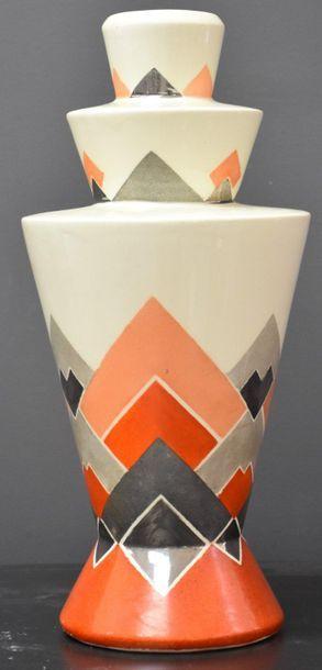 Vase Boch keramis forme géométrique à décor...