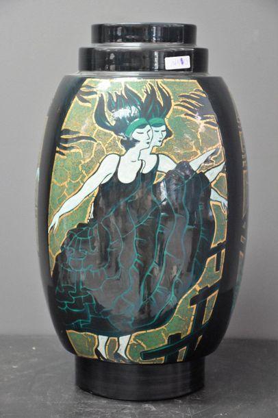 Important vase boch keramis . Décor à la...