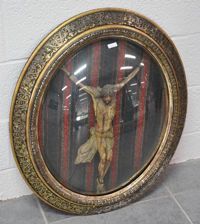 Suffering Christ in carved and polychromed wood. 18th century period, placed in...