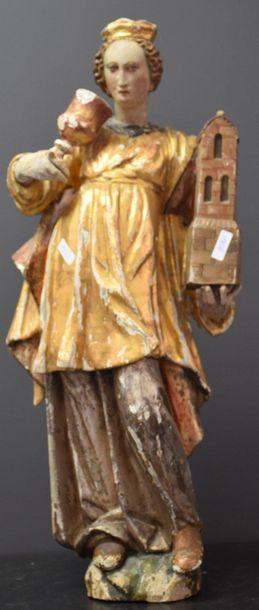 Sainte barbe en bois doré et polychromé XVIII...
