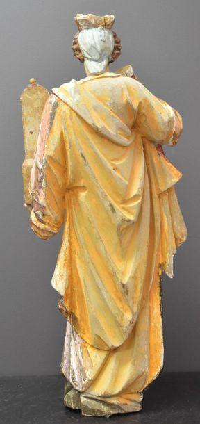 Holy beard in gilded wood and polychromed XVIII th century . Ht 60 cm .