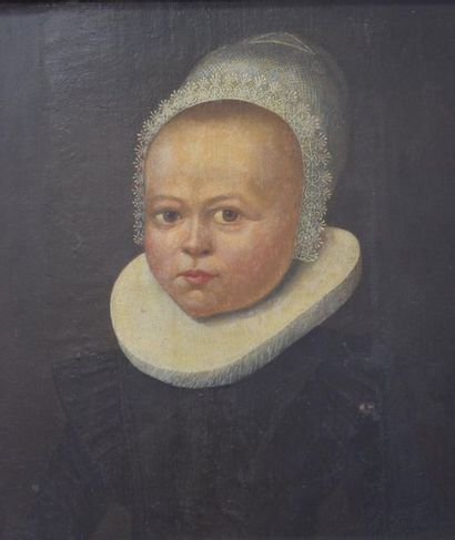 """Oil on oak panel XVII th century . """"portrait of a young girl. Frame XIX th century...."""