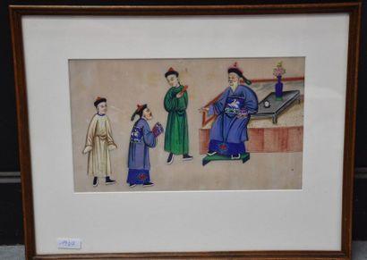Chine XIX ème siècle , peinture sur papier...