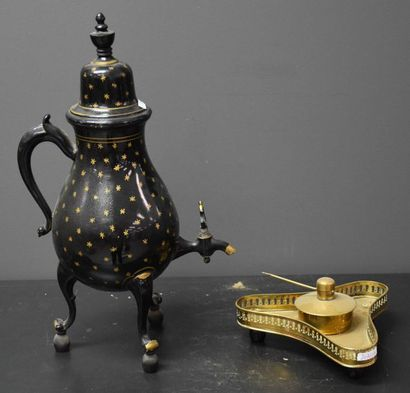Samovar early 19th century black and gold lacquered. Ht 41 cm .