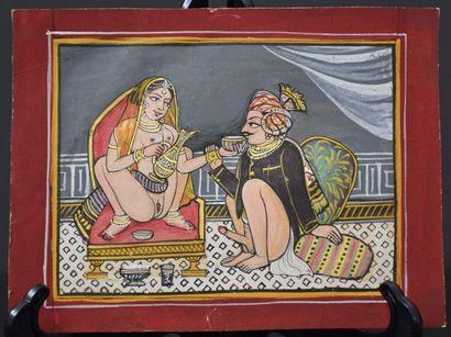 Miniature indienne, gouache sur papier ,...