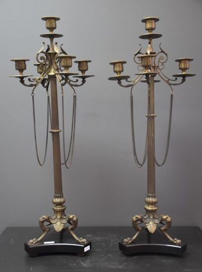 Paire de candélabres Napoléon III en bronze...