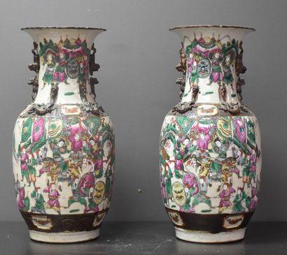 Paire de vases en porcelaine de Nankin fin...