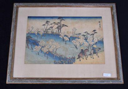 Estampe Japonaise signée Hiroshige, vue de...