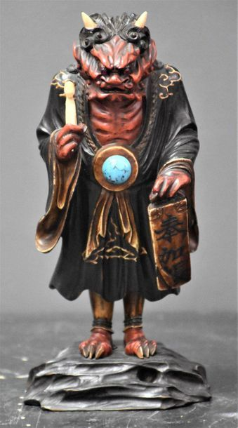 Sujet en bois sculpté . Ivoire et pierre...